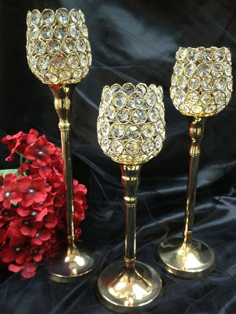 Gold Candle Holders For Wedding by Gold Wedding Centerpieces Pillar Votive Candle