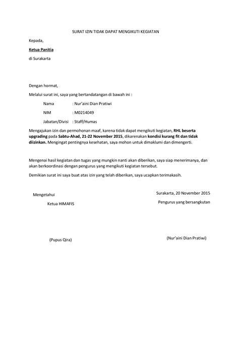 surat izin tidak dapat mengikuti kegiatan pdf documents
