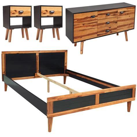 solid acacia wood dresser vidaxl four piece bedroom furniture set solid acacia wood