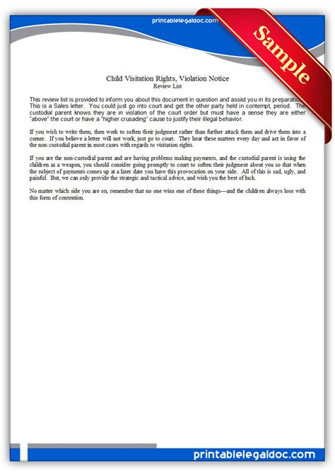 Unfit Parent Letter Free Printable Child Visitation Rights Viiolation Notice