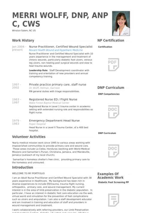 Nurse Practitioner Resume samples   VisualCV resume