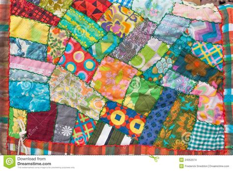 crazy patchwork quilt stock photo image  handcrafted