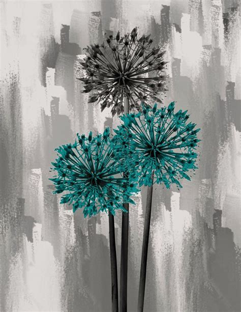 teal wall decor contemporary teal gray floral home wall decor matted