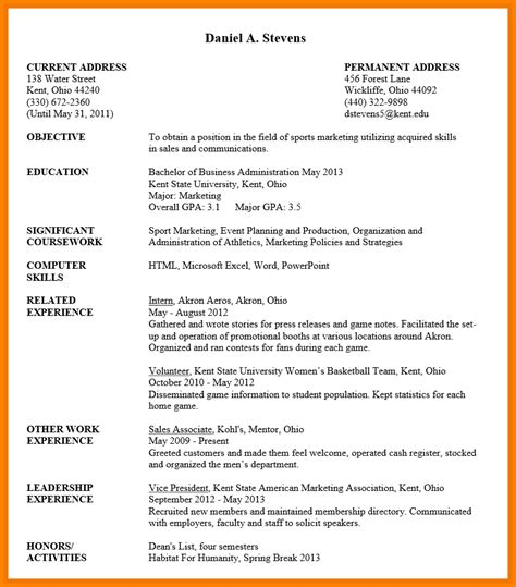 career objective for undergraduate undergraduate student resume sle uxhandy