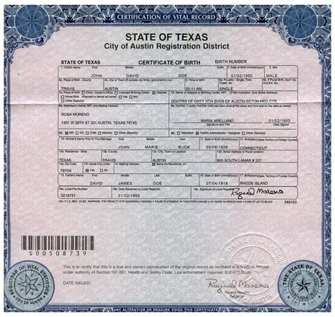 Birth Records San Antonio Exles Of Best Certificate Birth Certificate