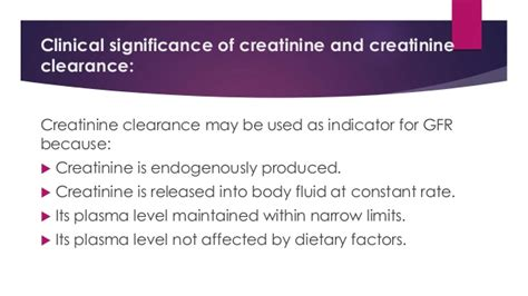 creatinine low creatinine and creatinine clearance