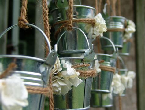 Rustic Wedding Favors Mini Galvanized Pails Shabby Chic Tin Buckets For Centerpieces
