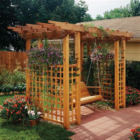 garden trellis plans garden arbor getaway woodworking plan from wood magazine