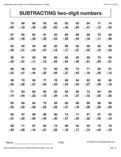grade 3 math worksheets vertical subtraction