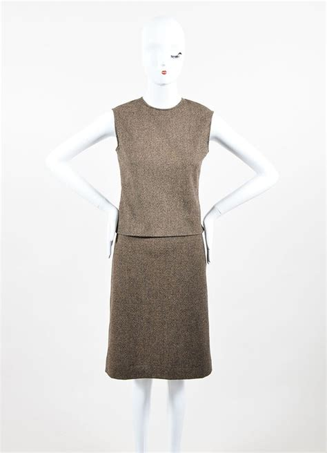 brown patterned pencil skirt hermes brown hermes wool cashmere patterned top and