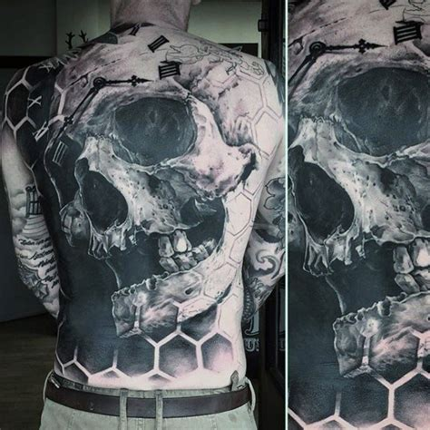 awesome terrific realistic skull tattoo 50 awesome back tattoos for masculine design ideas