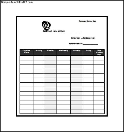 attendance register template word attendance list template word free sle templates