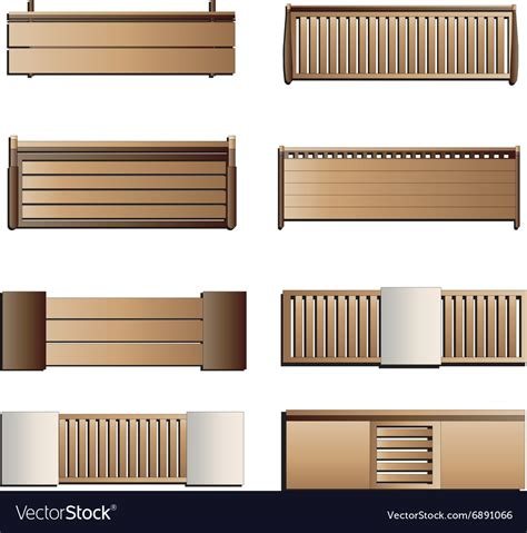 bench top view outdoor furniture bench top view set 6 for lands vector image