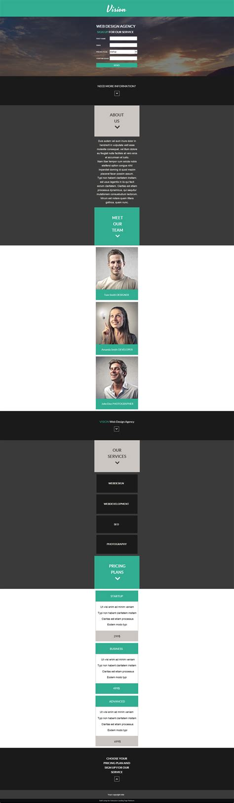 themeforest unbounce vision agency unbounce landing page by webdesignn