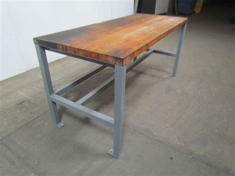 industrial work bench welded steel industrial work bench w 1 3 4 quot butcher block