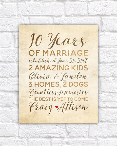 Wedding Anniversary Gifts And Years by 10 Year Anniversary Gift Wedding Anniversary Decor