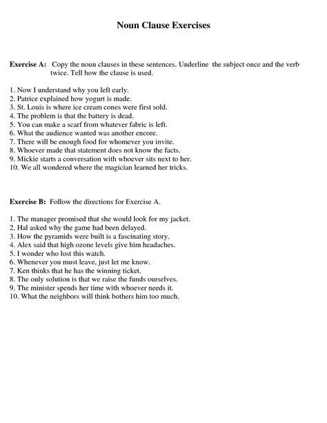 Cv In Clause Uncategorized Noun Clauses Worksheet Klimttreeoflife Resume Site