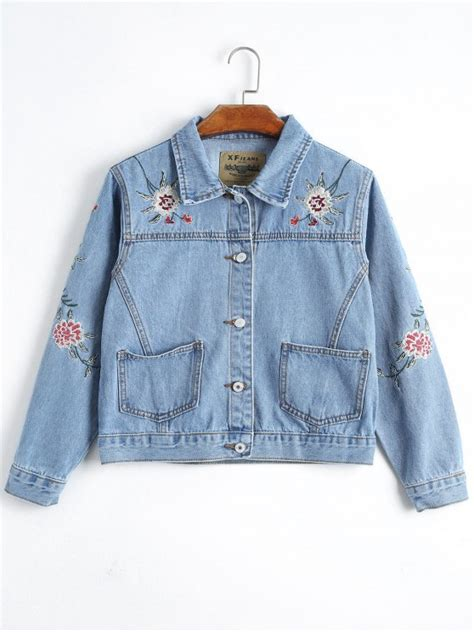 Embroidery Button Jacket 2019 button up floral embroidery denim jacket in denim
