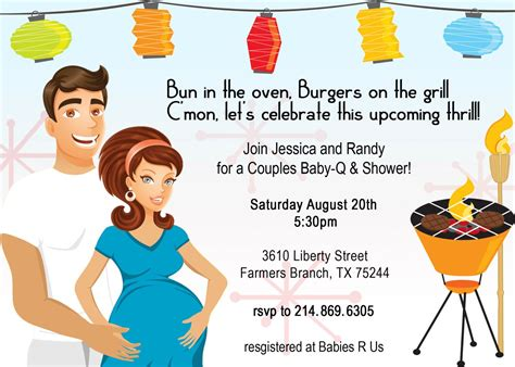 Coed Baby Shower Invitations Wording Ideas by Retro Coed Baby Bbq Shower Invitation