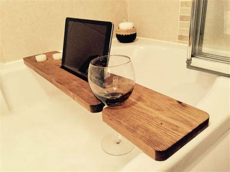 bathroom tablet stand details about wood bath caddy wine candle iphone ipad