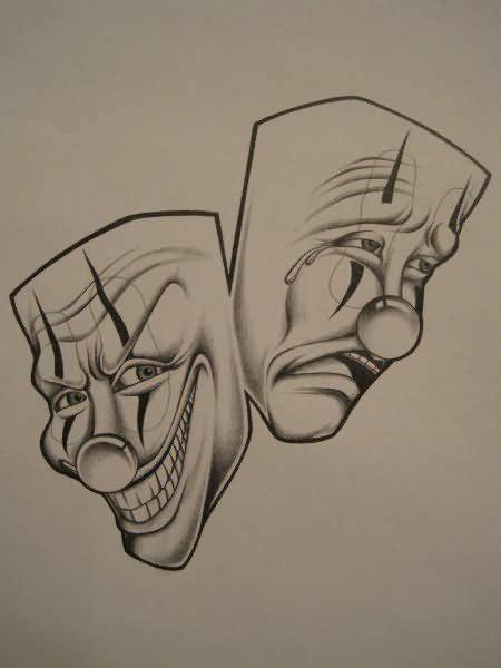 3d tattoo zeichnen sad and happy clown faces tattoo designs happy clown