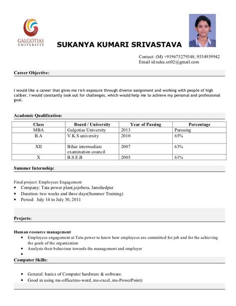 sle of resume for freshers mba mba resume format
