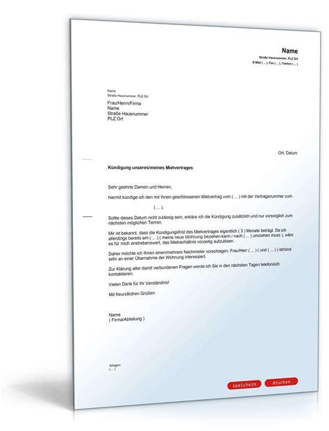 Musterbrief Einfache Bewerbung K 252 Ndigung Mietvertrag Mieter Nachmieter Muster Vorlage Zum