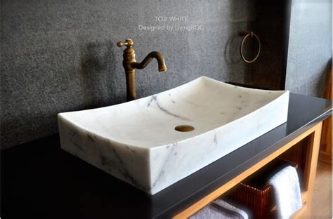 27 quot white marble bathroom vessel sink toji white