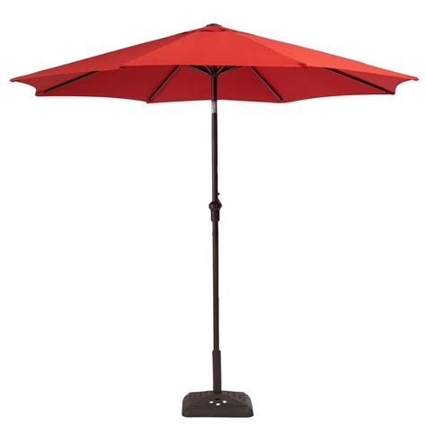 Patio Umbrellas That Tilt Hton Bay 9 Ft Steel Crank And Tilt Patio Umbrella In Ruby Yjauc 171 Ruby The Home Depot