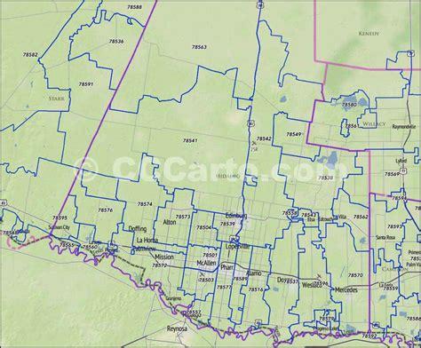 mcallen texas zip code map hidalgo county tx zip code boundary map
