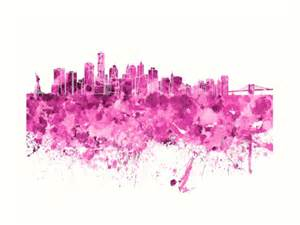 Duvet Purple Quot New York Skyline In Pink Watercolor On White Background