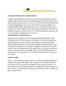 Graduate Essays by Grad School Statement Of Purpose