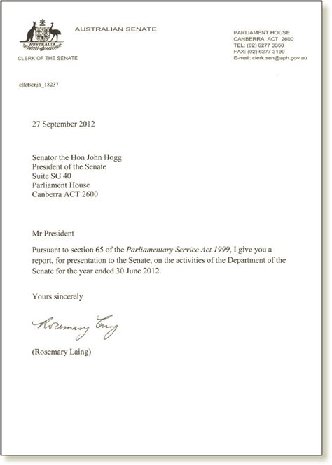 Transmittal Letter Sle For Report Letter Of Transmittal Parliament Of Australia