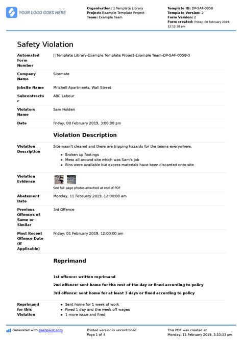 warning letter safety compliance sample template