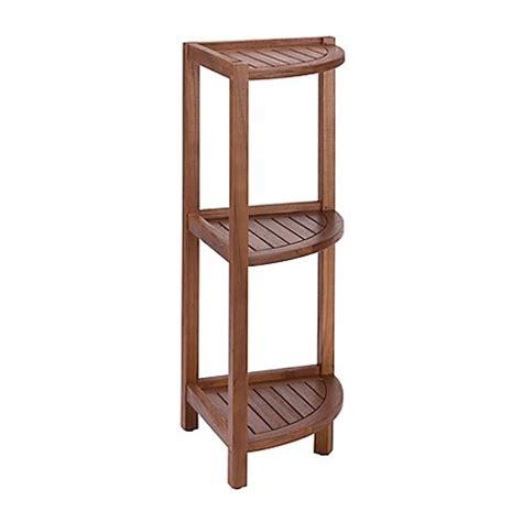 3 tier corner shelf bathroom haven stained teak 3 tier corner shelf in brown bed bath beyond