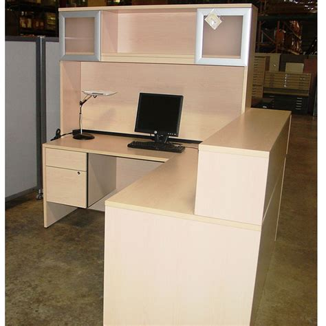 maple receptionist desk with hutch office furniture