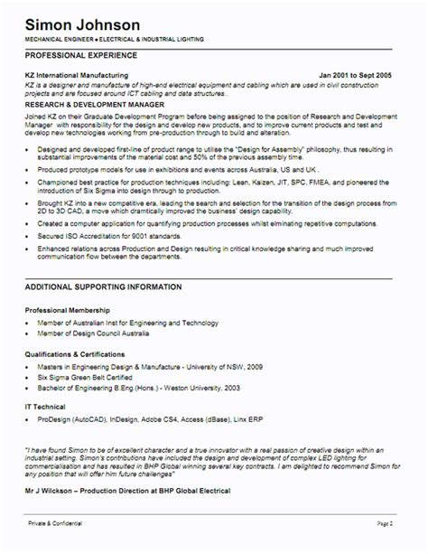 stron biz engineering graduate resume sle