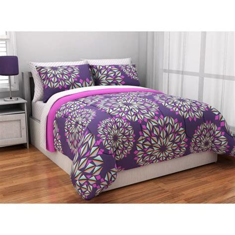 purple teen bedding latitude kaleidoscope reversible complete bedding set