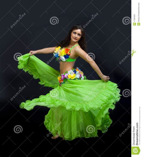 Carnival Floor Plan Beauty Mature Woman Dance In Green Costume Stock Image
