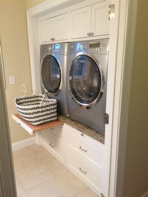 washer and dryer cabinets contemporary laundry room with raised washer dryer white