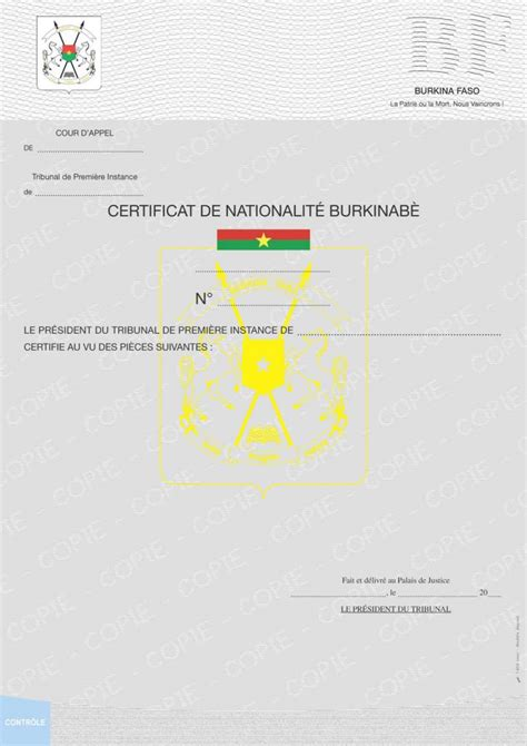 Armoirie Burkina Faso by Certificat De Nationalit 233 Securidoc