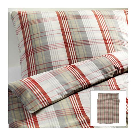 ikea red and white bedding ikea benzy duvet cover set beige plaid yarn dyed soft