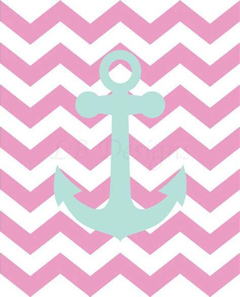 pink chevron bedroom girl s nautical pink and aqua chevron anchor nursery print 8x10