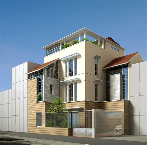3d house building contemporary multi story house 3d model max obj 3ds mtl