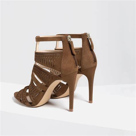 zara heeled sandals zara leather strappy high heel sandals in khaki