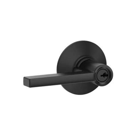 schlage latitude matte black keyed entry lock lever f51 v