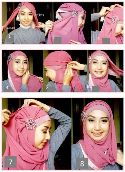 tutorial hijab segi empat ke pesta cara memakai jilbab pesta modern
