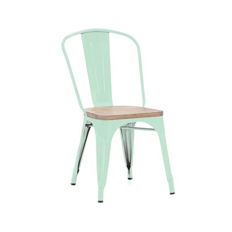 Tolix Chairs by Spearmint Finish Wood Seat Tolix Chair Tablebasedepot