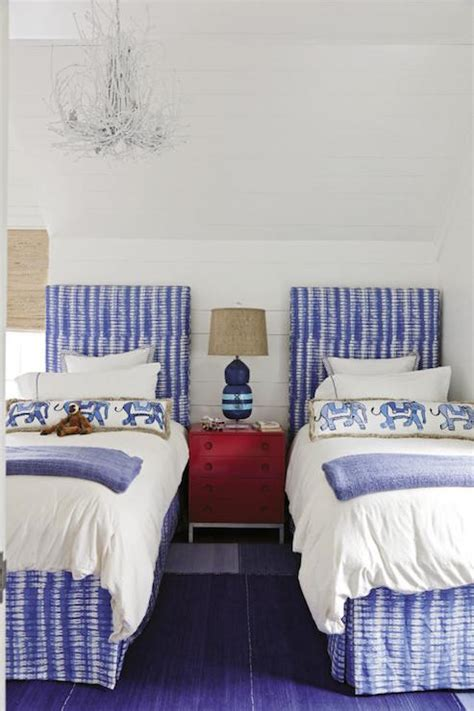 red kids bedroom red bed with blue buffalo check bedding contemporary