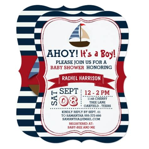 Ahoy Baby Boy Baby Shower by Ahoy It S A Boy Nautical Boat Baby Shower Invites